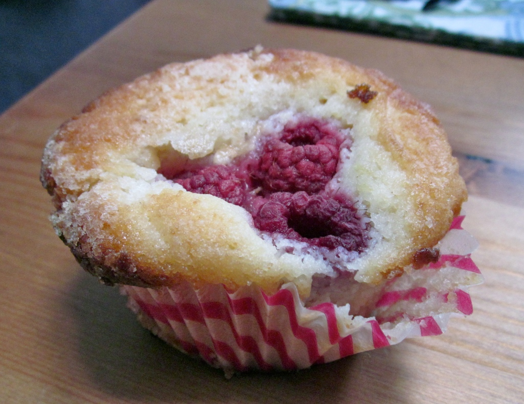 raspberry topped muffin