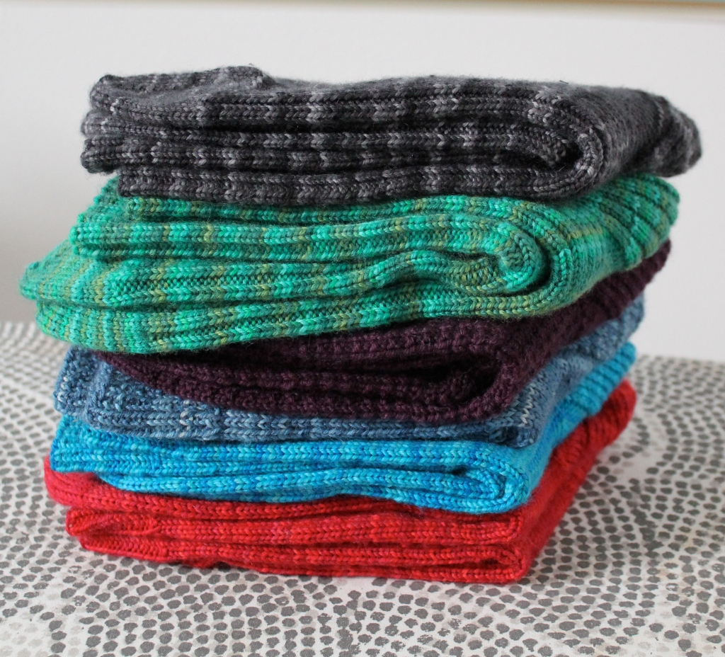 Stack of Handknit Socks